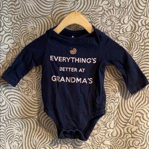 BabyGap 6-12 Months Navy Blue Graphic Onesie